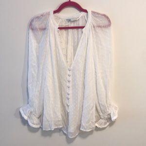 Zara peasant blouse sz small in white